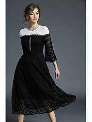 cheap -Women's Party Daily Cute Sexy Street chic A Line Swing Dress,Stitching Lace Embroidered Lolita Round Neck Midi 3/4 Sleeve Cotton Acrylic