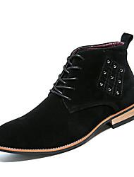 Недорогие -Муж. обувь Замша Зима Осень Модная обувь Ботинки Ботинки для Повседневные Для вечеринки / ужина Черный Коричневый