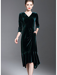 cheap -Women's Going out Trumpet/Mermaid Dress,Solid V Neck Knee-length 3/4 Length Sleeves Acrylic Mid Rise Micro-elastic Opaque