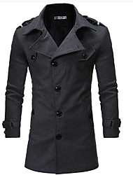 cheap -Men's Daily Simple Casual Winter Coat,Solid Shirt Collar Long Sleeves Regular Others
