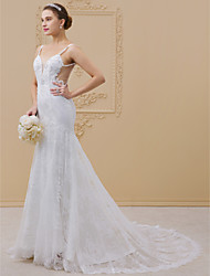 cheap -Mermaid / Trumpet Spaghetti Straps Chapel Train Lace Wedding Dress with Beading Appliques Buttons by LAN TING BRIDE®
