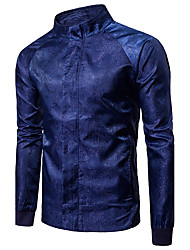 cheap -Men's Daily Going out Simple Casual Spring Fall Jackets,Solid Stand Long Sleeves Regular Cotton