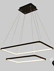 cheap -Dimmable LED 90W Pendant Light  Rectangle Frame Modern/Comtemporary Black White Feature for  Living Room Dining Room With Remote Controller
