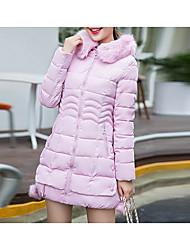 Dámské S vycpávkou Sofistikované Běžné/Denní Jednobarevné-Kabát Bavlna Polyester Dlouhý rukáv