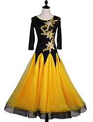 cheap -Ballroom Dance Dresses Women's Performance Spandex Organza Crystals/Rhinestones Long Sleeves Dress