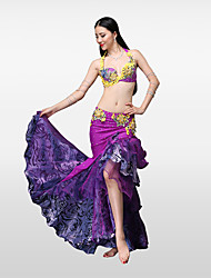 cheap -Belly Dance Outfits Women's Performance Cotton Polyester Pleated Crystals/Rhinestones Skirts Bra