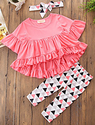 cheap -Girls' Solid Geometric Geometric Pattern Clothing Set,Cotton Polyester Fall Spring, Fall, Winter, Summer Half Sleeve Cute Casual Active