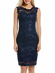 cheap -Women's Party Club Vintage Sexy Bodycon Lace Dress,Solid V Neck Above Knee Sleeveless Polyester Summer Fall Mid Rise Micro-elastic Opaque