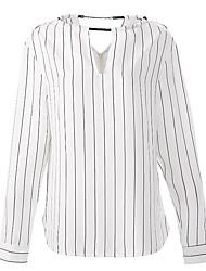 cheap -Women's Vintage Polyester Blouse - Striped