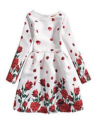 cheap -Girl's Dailywear Dress, Cotton Polyester Long Sleeves Cute Casual Princess White