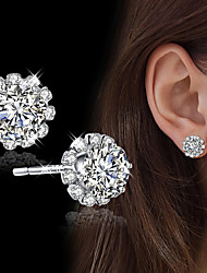 cheap -Women's Stud Earrings Cubic Zirconia Rhinestone Simple Style Elegant Silver Cubic Zirconia Circle Jewelry For Wedding Evening Party