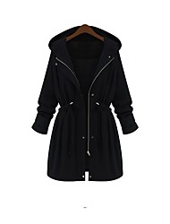 cheap -Women's Basic Plus Size Coat-Solid Colored