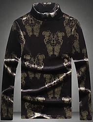 Masculino Camiseta Para Noite Casual Moda de Rua Estampado Poliéster Gola Alta Manga Longa