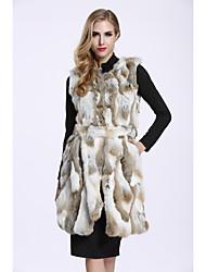 Feminino Colete Casual Sofisticado Outono Inverno,Estampa Colorida Longo Pêlo de Coelho Sem Manga