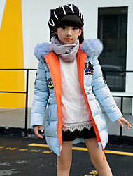 cheap -Girls' Solid Prints Down & Cotton Padded,Cotton Polyester Long Sleeves Casual Blue White Black Blushing Pink