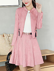 cheap -Women's Daily Casual Winter Set Skirt Suits,Solid Round Neck Long Sleeves Cotton