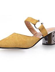 Femme Chaussures Cuir Nubuck Printemps Automne Confort Sabot & Mules Pour Décontracté Noir Beige Jaune