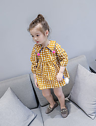 cheap -Girl's Round Dots Dress Casual Cute Yellow Blue