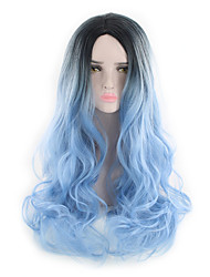cheap -Synthetic Hair Wigs Body Wave Natural Wave Natural Hairline Celebrity Wig Party Wig Natural Wigs Long Black/Blue Black/Rose Red Grey