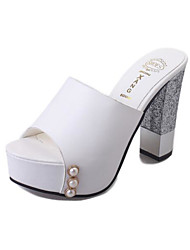 cheap -Women's Shoes PU Spring Summer Comfort Sandals For Casual Black White
