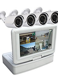4 Channel Security Camera System 7 inch LCD 1080N AHD DVR 1.3MP Weatherproof Cameras with Night Vision