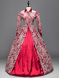 cheap -Victorian Rococo Female One Piece Dress Red Cosplay Satin Long Sleeves Floor Length