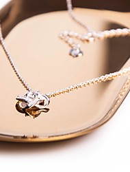 cheap -Women's Star Cubic Zirconia Zircon Silver Sticky Rhinestones Pendant Necklace - Elegant Sweet Cross Star Silver Necklace For Casual Work