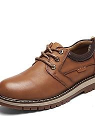 Недорогие -Муж. Fashion Boots Кожа Весна Удобная обувь Кеды Темно-русый / Темно-коричневый