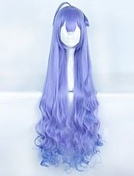 cheap -Women Synthetic Wig Capless Long Sky Blue Ombre Hair With Bangs Cosplay Wig Costume Wig