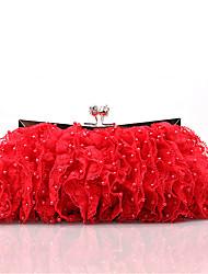Недорогие -Жен. Мешки Satin Вечерняя сумочка Кружева / Жемчужная отделка для Свадьба / Для праздника / вечеринки Цвет шампанского / Красный / Розовый