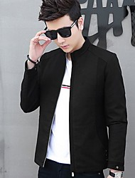cheap -Men's Daily Going out Simple Casual Fall Jackets,Solid Stand Long Sleeves Short Polyester