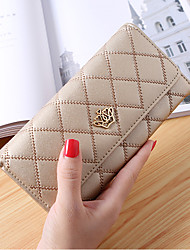 cheap -Women Bags PU Wallet Buttons Embroidery for Shopping Office & Career All Season Blushing Pink Yellow Fuchsia Light Purple Sky Blue