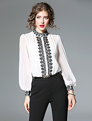 cheap -Women's Vintage Lantern Sleeve Shirt - Embroidery, Pleated Oversized Embroidered Stand