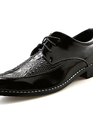 cheap -Men's Shoes Real Leather Nappa Leather Spring Fall Comfort Oxfords for Casual Black Silver Red