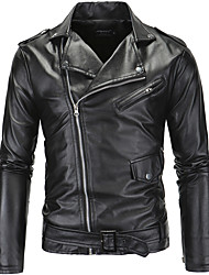 cheap -Men's Simple Casual Punk & Gothic Plus Size Leather Jacket-Solid Colored,Zipper Shirt Collar