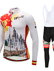 cheap -CYCOBYCO Cycling Jersey with Bib Tights Men's Long Sleeves Bike Clothing Suits Winter Fleece Bike Wear Quick Dry 3D Pad Graphic Classic
