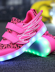 cheap -Girls' Shoes Fabric Leatherette Tulle Customized Materials Fall Light Up Shoes Comfort Sneakers LED Magic Tape for Casual Outdoor White