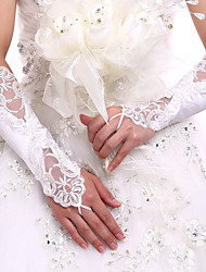 cheap -Lace Spandex Fabric Elbow Length Glove Luxury Bridal Gloves With Embroidery Pearls Sequins
