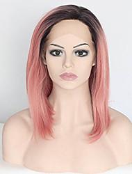Kvinder Syntetisk Lace Front Parykker Kort Medium Ret Pink Mørke hårrødder Bob frisure Drag queen paryk Festparyk Celebrity Paryk