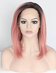 abordables -Peluca Lace Front Sintéticas Recto Corte Bob Raíces oscuras Rosa Mujer Encaje Frontal Peluca de fantasía Peluca de carnaval Peluca de