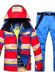 abordables -Hombre Chaqueta y pantalones de Esquí Resistente al Viento, Impermeable, Templado Esquí Ecológico Poliéster Chaqueta de Invierno / Pantalones de babero de nieve Ropa de Esquí