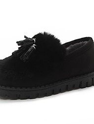 cheap -Women's Shoes Fleece Fall Winter Fluff Lining Light Soles Loafers & Slip-Ons Round Toe Ribbon Tie For Casual Khaki Gray Black