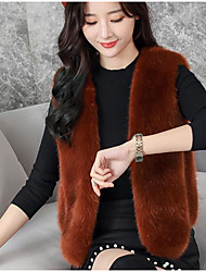 cheap -Women's Daily Going out Street chic Winter Fall Vest,Solid V Neck Sleeveless Regular PU