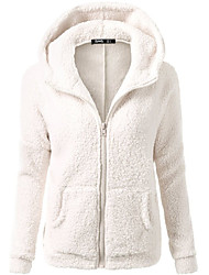 cheap -Women's Daily Wear Hoodie Solid V Neck Micro-elastic Cotton Long Sleeves Winter Fall
