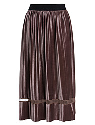 cheap -Women's Cotton Swing Skirts - Solid Colored Lace / Fall / Winter