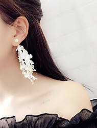 cheap -Women's Tassel / Long Drop Earrings - Tassel, Korean, Fashion White / Black For Party / Daily