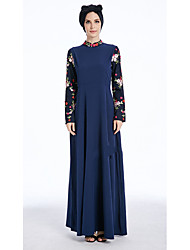 cheap -Women's Party Masquerade Abaya Dress,Solid Patchwork Stand Maxi Long Sleeves Polyester Winter Fall Mid Rise Inelastic Medium