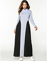 cheap -Women's Party Sexy Tunic Dress,Solid Round Neck Maxi Long Sleeve Wool Winter Mid Rise strenchy Thick