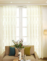 cheap -Grommet Top Double Pleat Pencil Pleat Curtain Contemporary Casual , Embroidery Solid Floral Living Room Polyester Material Sheer Curtains