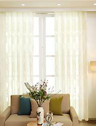 preiswerte -Ösen Zweifach gefaltet plissiert Window Treatment Moderne Freizeit , Stickerei Solide Blumen Wohnzimmer Polyester Stoff Gardinen Shades